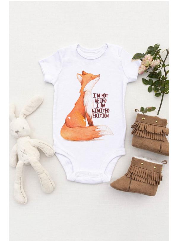 Fox I AM Бебешко Боди С Дизайнерски Принт