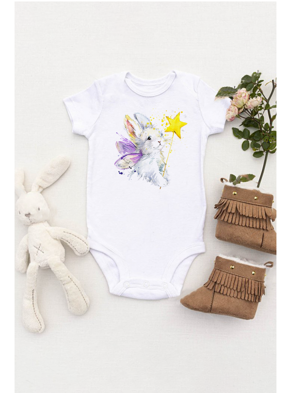 Aquarelle Fairy Rabbit Бебешко Боди С Дизайнерски Принт