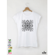 Mandala Black дамска бяла тениска с дизайнерски принт