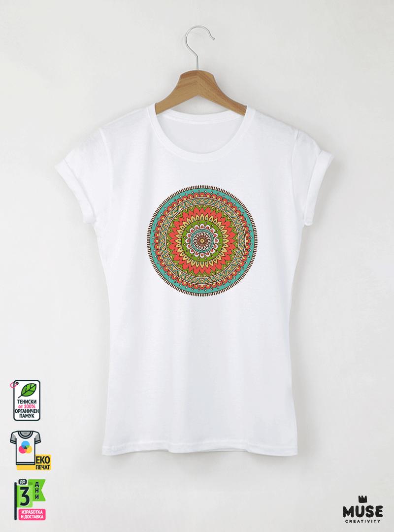 Mandala T дамска бяла тениска с дизайнерски принт