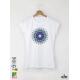Mandala Blue дамска Бяла тениска с дизайнерски принт