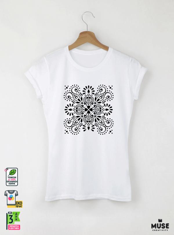 Mandala Black Дамска Бяла Тениска С Дизайнерски Принт От Органичен Памук
