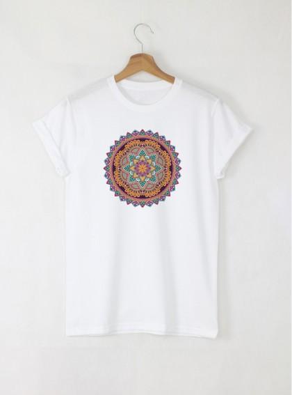 Mandala J дамска бяла тениска с дизайнерски принт