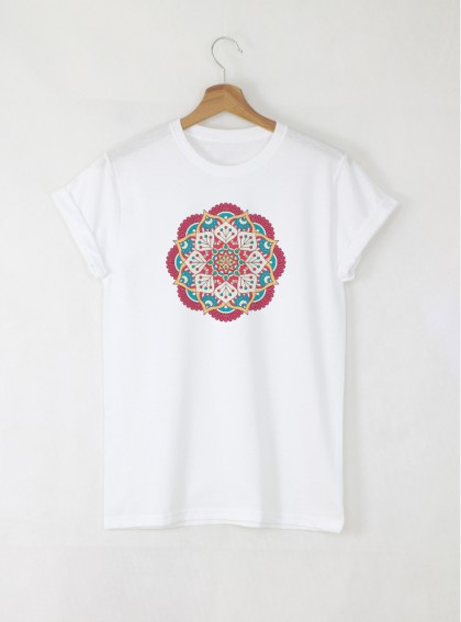 Mandala F дамска бяла тениска с дизайнерски принт
