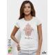 Fatima Hand Hamsa Акварел Дамска Бяла тениска с дизайнерски принт