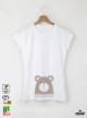 Bear Дамска бяла тениска с дизайнерски принт