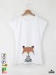 FOX Дамска бяла тениска с дизайнерски принт