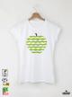 Apple Green Art Дамска бяла тениска с дизайнерски принт