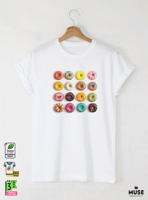 Donuts colorful детска бяла тениска за момче с дизайнерски принт