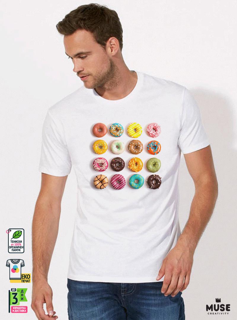 Donuts colorful мъжка бяла тениска с дизайнерски принт