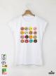 Donuts colorful Дамска бяла тениска с дизайнерски принт
