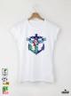 Mermaid Art Дамска Бяла Тениска С Дизайнерски Принт