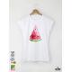 Watermelon Slice Aquarelle Дамска бяла тениска с дизайнерски принт