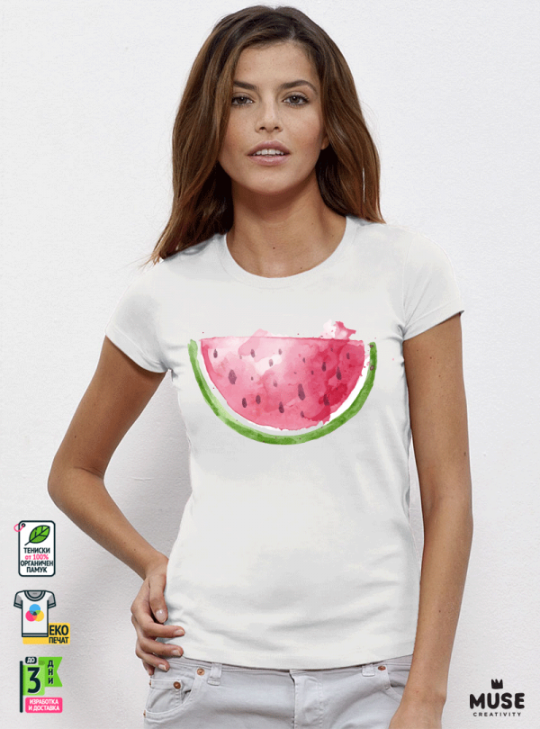 Watermelon Aquarelle Дамска бяла тениска с дизайнерски принт