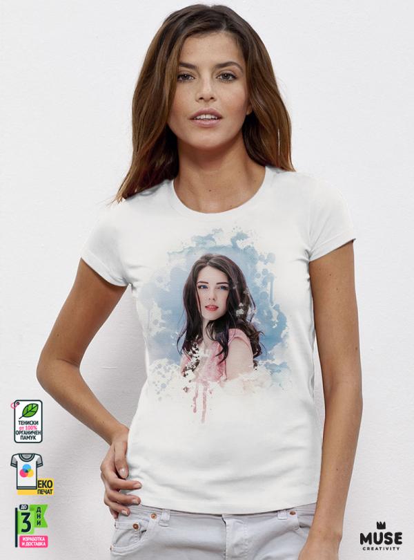 Дамска Тениска По Собствен Дизайн Акварел