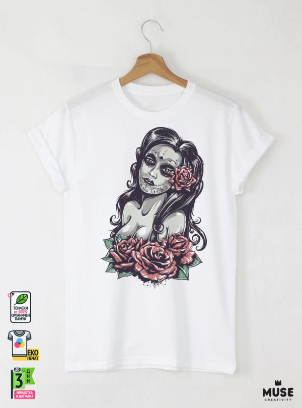 Dead Girl Мъжка Бяла Тениска с Дизайнерски Принт Азиатски Размер