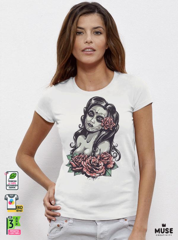 Dead Girl Дамска бяла тениска с дизайнерски принт