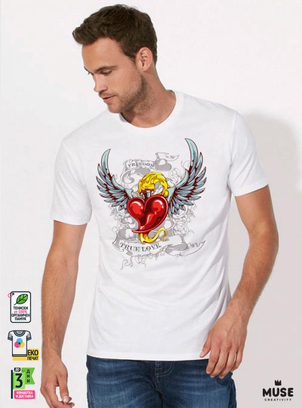 Tattoo Lover's Мъжка Бяла Тениска С Дизайнерски Принт Азиатски размер