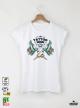 Tattoo Style Дамска бяла тениска с дизайнерски принт
