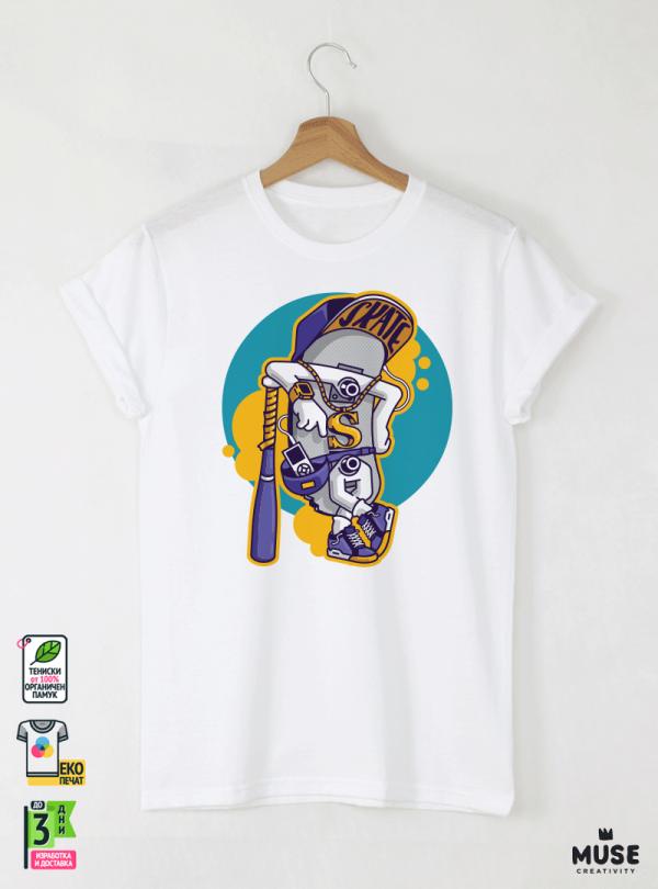 Skate Gang Мъжка Бяла Тениска с Дизайнерски Принт