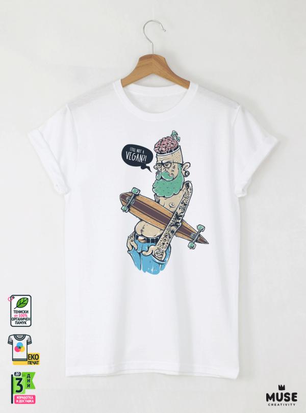 Hipster Long Мъжка Бяла Тениска с Дизайнерски Принт От Органичен Памук