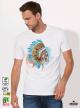 Skull Aquarelle Мъжка Бяла Тениска с Дизайнерски Принт Азиатски Размер