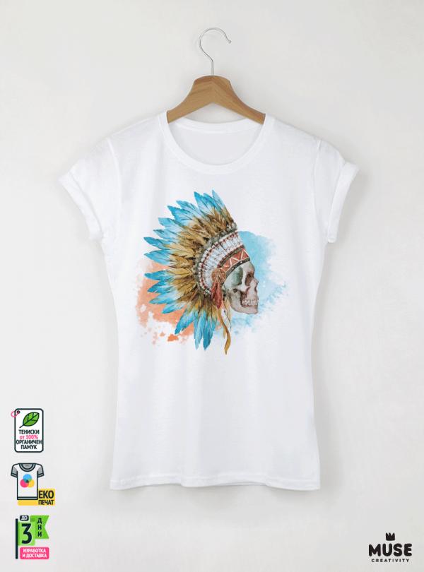 Skull Aquarelle Дамска Бяла Тениска с Дизайнерски Принт Азиатски Размер