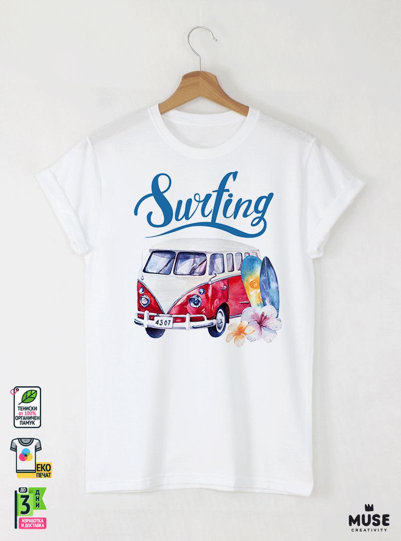 Surf Bus Red Детска Бяла Тениска за Момче с Дизайнерски Принт