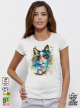 Aquarelle Cat Дамска бяла тениска с дизайнерски принт котки