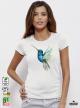 Aquarelle Colibri Дамска бяла тениска с дизайнерски принт