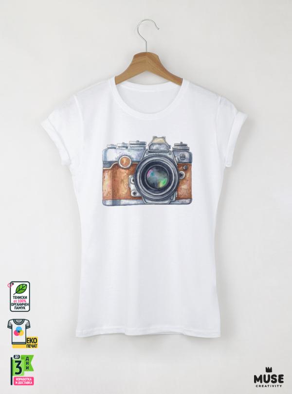 Camera Aquarelle Дамска бяла тениска с дизайнерски принт