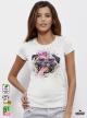 Aquarelle Mops Дамска бяла тениска с дизайнерски принт от органичен памук