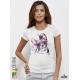 Aquarelle King Dog Дамска бяла тениска с дизайнерски принт Азиатски Размер