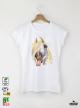 Aquarelle Horse Детска бяла тениска за момиче с дизайнерски принт