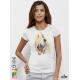 Aquarelle Horse Дамска бяла тениска с дизайнерски принт Азиатски размер