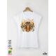 Aquarelle Tiger Дамска бяла тениска с дизайнерски принт Азиатски Размер