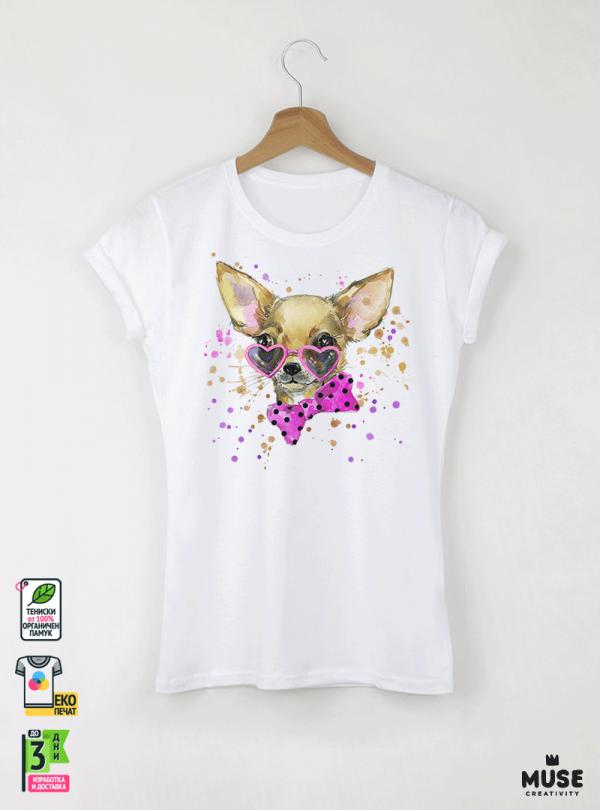Aquarelle Chihuahua Детска бяла тениска за момиче с дизайнерски принт