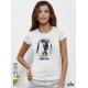 Aquarelle Penguin Дамска бяла тениска с дизайнерски принт