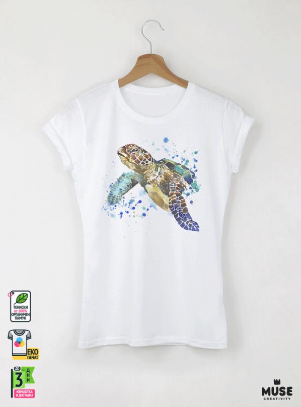 Aquarelle Turtle Детска бяла тениска за момиче с дизайнерски принт