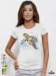 Aquarelle Turtle Дамска бяла тениска с дизайнерски принт Азиатски Размер