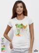 Aquarelle Frog Дамска бяла тениска с дизайнерски принт Азиатски Размер