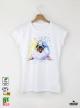 Aquarelle Seal Дамска бяла тениска с дизайнерски принт Азиатски Размер