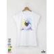 Aquarelle Seal Дамска бяла тениска с дизайнерски принт