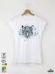 Aquarelle White Tige Дамска бяла тениска с дизайнерски принт Азиатски размер