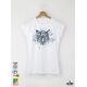 Aquarelle White Tige Дамска бяла тениска с дизайнерски принт