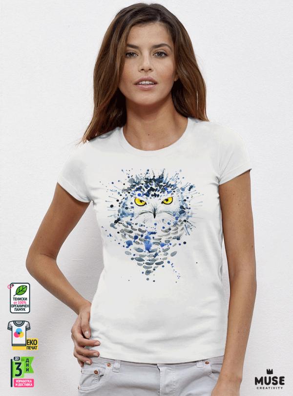 Aquarelle White Owl Дамска бяла тениска с дизайнерски принт Азиатски Размер