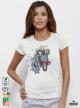 Aquarelle Zebra Дамска бяла тениска с дизайнерски принт Азиатски Размер