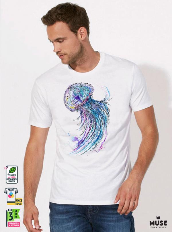 Aquarelle Jellyfish Мъжка Бяла Тениска с Дизайнерски Принт