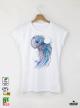 Aquarelle Jellyfish Дамска бяла тениска с дизайнерски принт Азиатски Размер