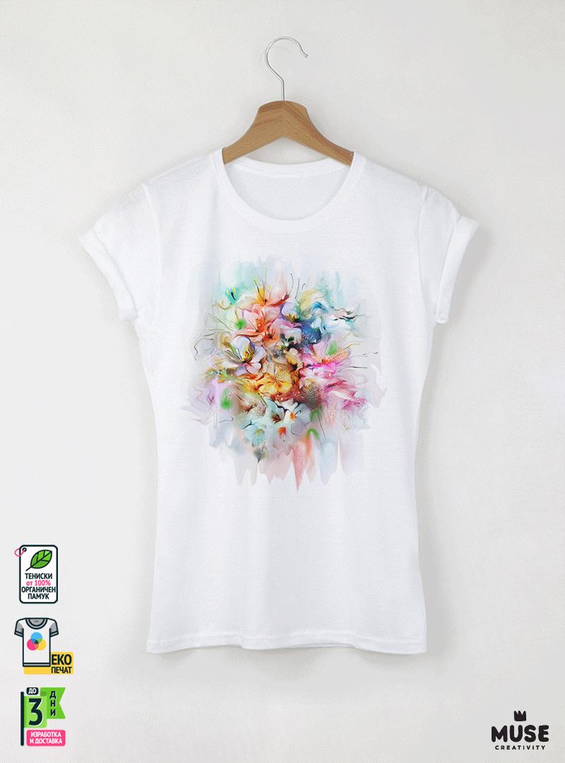 Aquarelle Bouquet Дамска бяла тениска с дизайнерски принт
